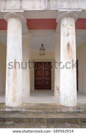 entrance with columns of a historic building in Mon Repo in Corfu island