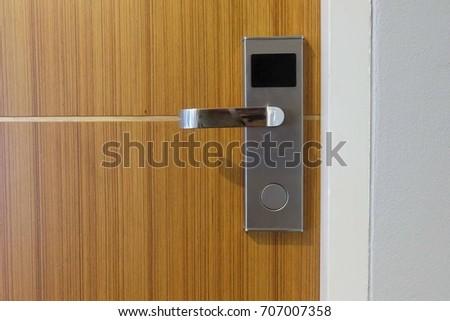 Entrance wood door with electronic keycard lock system. Handle on wooden door. The door & Locked Door Stock Images Royalty-Free Images \u0026 Vectors | Shutterstock