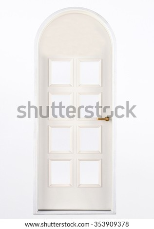 Entrance wooden door on a white background - stock photo