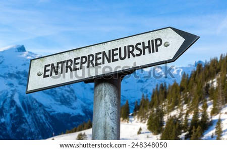 Entrepreneurship sign with winter background - stock photo