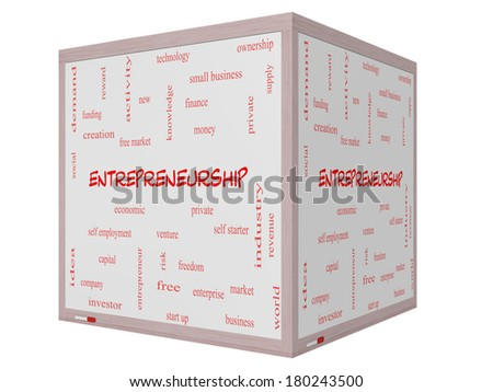 Entrepreneurship Word Cloud Concept on a 3D cube Whiteboard with great terms such as economic, private, venture and more. - stock photo
