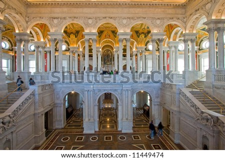 Entry Hall of the Library of Congress, Washington  DC, United States of America - stock photo