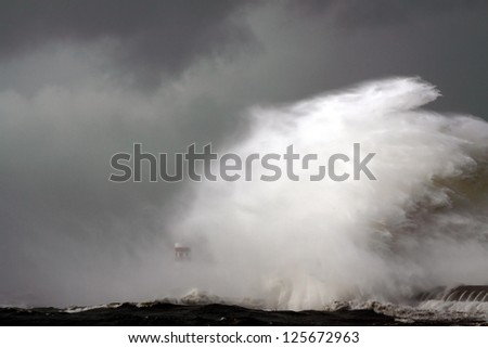 Entry of Douro River harbor on the first big storm of the year; Wind gusts reach 140 Km; photo taken on Jan. 19, 2013.