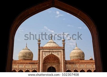 Entry of Jama masjid, old delhi, india - stock photo