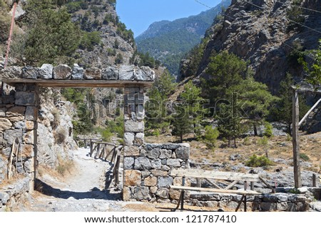 Entry of the Samaria gorge at Crete island in Greece - stock photo