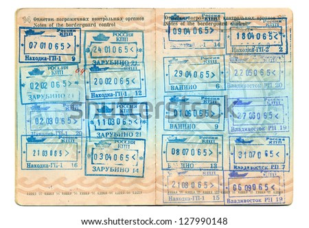 Entry stamps in passport page