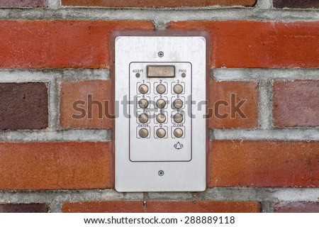 entry system of a house on brick background - stock photo