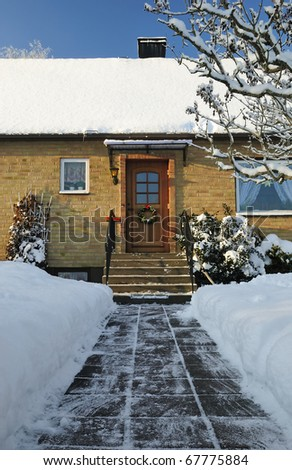 Entry to Swedish house in winter season - stock photo
