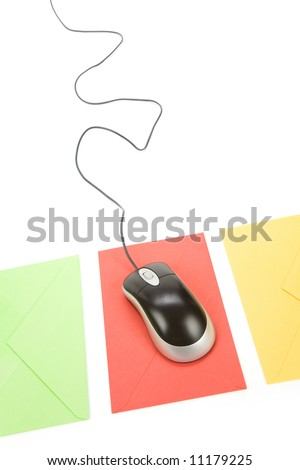 envelope and computer mouse, concept of email