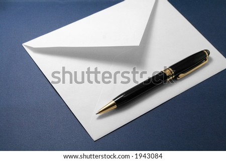 envelope and pen, concept of communication - stock photo