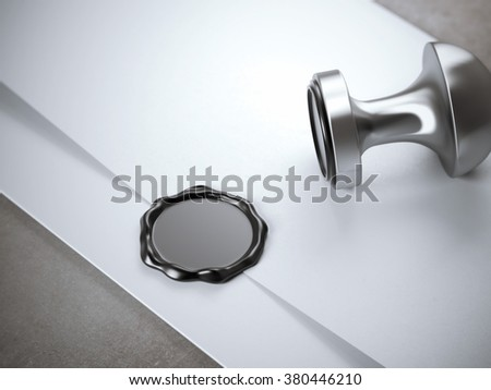 Envelope and wax with seal stamp. - stock photo