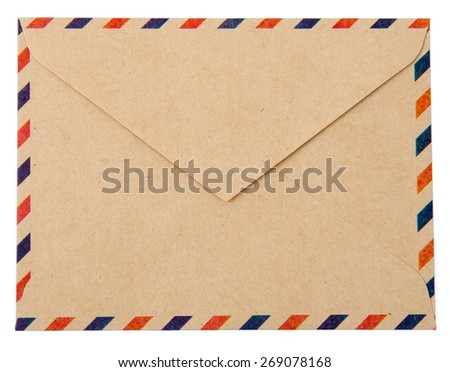 Envelope brown-gray wood par avion retro vintage isolated on white background