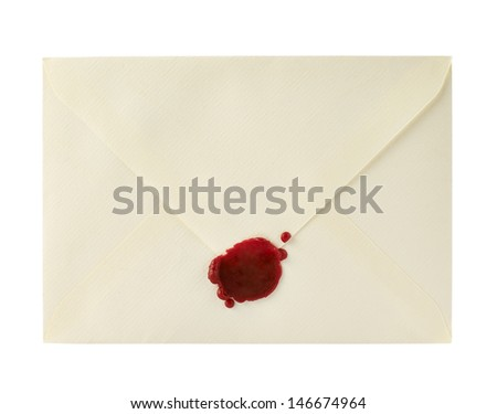 Envelope closed with a sealing wax isolated over white background - stock photo