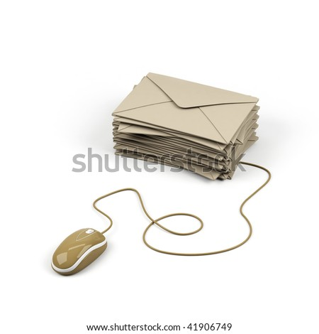 Envelope connected to a computer mouse. 3d image. - stock photo