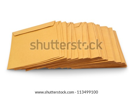 Envelope document stacks isolated on white background with Clipping Path - stock photo
