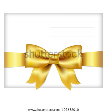 Envelope Face With Golden Bow, Isolated On White Background