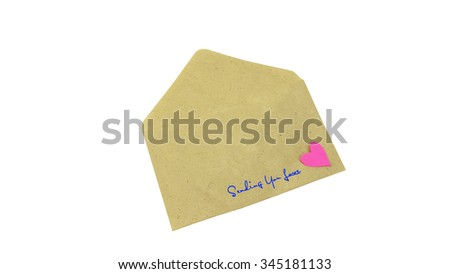 Envelope filled with heart and text SENDING YOU LOVE as a romantic love letter, composition isolated over the white background. Love concept.