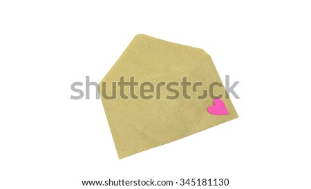 Envelope filled with heart as a romantic love letter, composition isolated over the white background. Love concept.