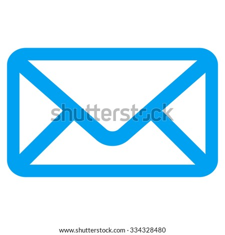 Envelope glyph icon. Style is flat symbol, blue color, rounded angles, white background.