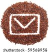 envelope icon is lined with coffee beans on white background - stock photo