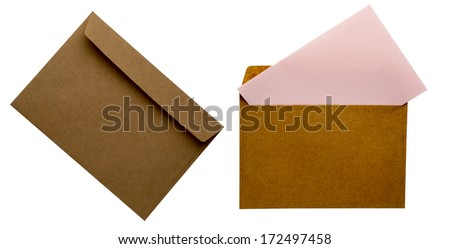 Envelope in a white background