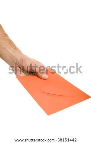Envelope in hand - stock photo