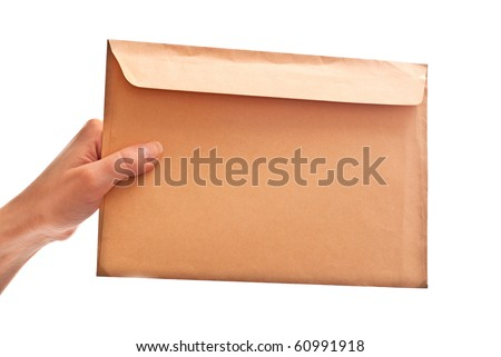 Envelope in woman's hand. Isolated on white - stock photo