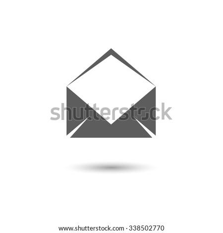 Envelope Mail Icon Isolated on White Background. Flat Design Style. - stock photo