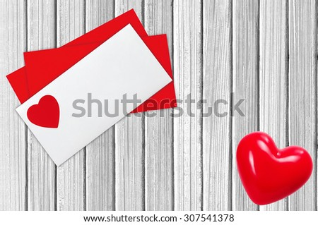 Envelope Mail, Over White Wooden Background. Valentine Day, Love Wedding Concept - stock photo
