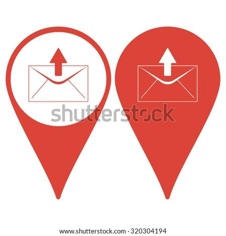 envelope mail symbol. Flat design style.  - stock photo