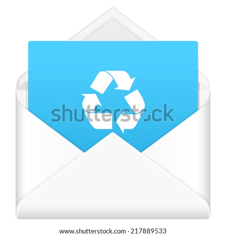 Envelope, notebook sheet, and symbol on a white background.
