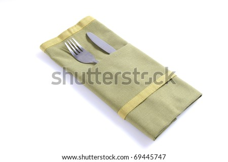 Envelope of tissue with a knife and fork - stock photo