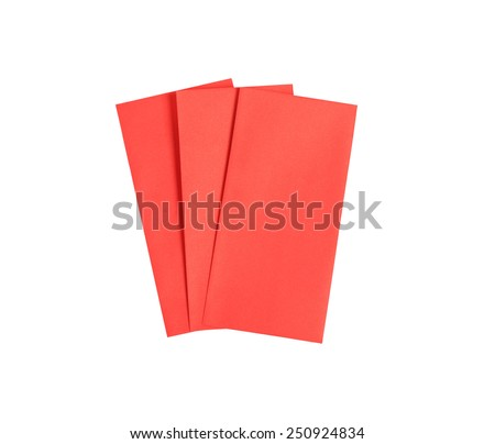 Envelope Red gift bag for the money in the Chinese New Year isolated on white background. this has clipping path. - stock photo
