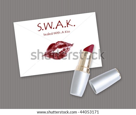 Envelope Sealed with a Kiss and Lipstick Tube - stock photo