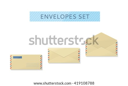 Envelope set open and close design flat. Letter mail template, yellow envelope, invitation envelope, open or close envelope  illustration - stock photo