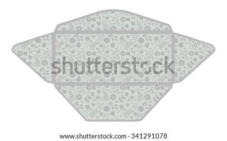 Envelope template with floral pattern inside. Good for holiday greeting, card, wedding or baby shower invitation, branding, making your company correspondence unique. Gentle raster illustration - stock photo