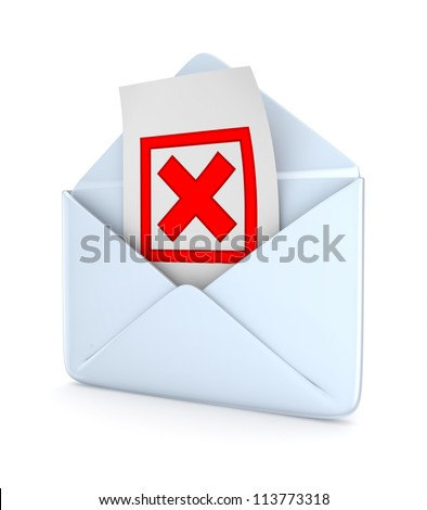 Envelope with a red cross mark inside.Isolated on white background.3d rendered. - stock photo