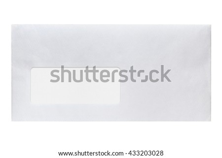 Envelope with address window isolated on white background