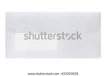 Envelope with address window isolated on white background - stock photo