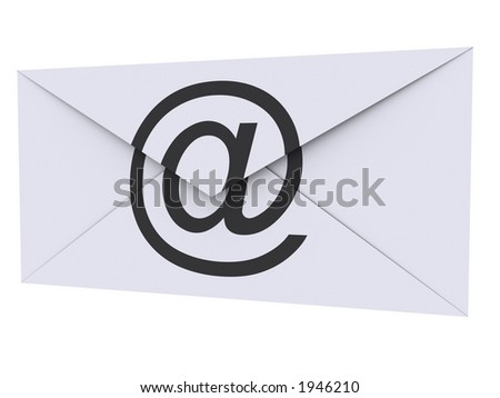 Envelope with [at] printed on it - stock photo