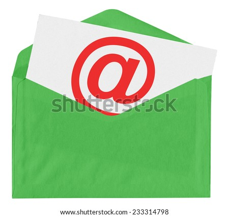 Envelope with at symbol isolated on white background - stock photo