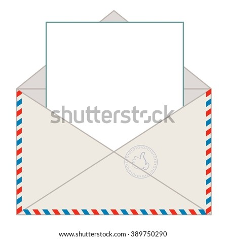 Envelope with blank letter for your message, illustration - stock photo