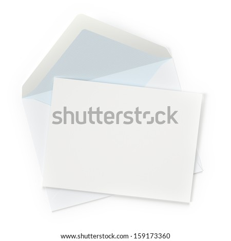 Envelope with blank letter on white background. Computer generated image with clipping paths. - stock photo