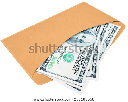 Envelope with cash dollars a bribe or the fee 3d - stock photo