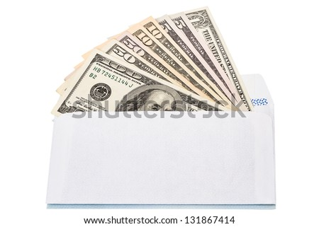 Envelope with cash in dollars isolated on white background - stock photo