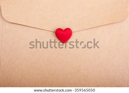 Envelope with heart - valentines holiday background - stock photo