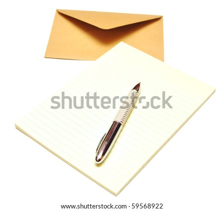 envelope with notepad and pencil isolated on a white background