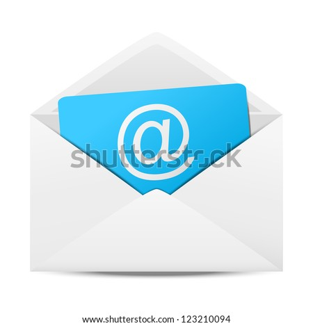 Envelope with paper sheet - concept of email - stock photo
