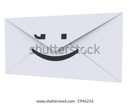 Envelope with ;) printed on it - stock photo