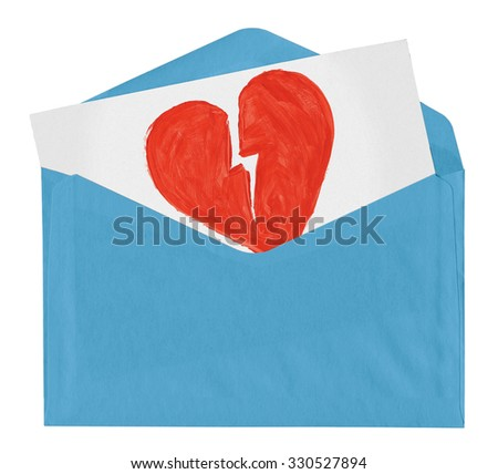 envelope with symbol of broken love isolated on white background - stock photo